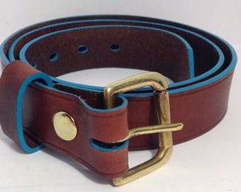 Mahogany Brown Leather Belt with Turquoise Blue edge 38mm