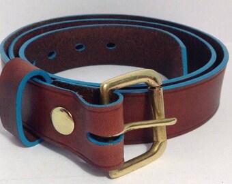 Mahogany Leather Belt with Turquoise edge 38mm