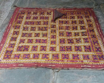 A fabulous hand embroidered antique bullock blanket from Kutch in Gujarat Free shipping.