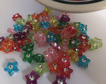 50 pc Mixed Bling Star Acrylic Beads approx 9x4mm