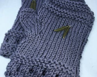 Grey organic cotton fingerless gloves