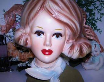 "Authentic Inarco Japan Rare 7"" Lady Head vase 1950's Headvase Mod Stewardess Perfect"