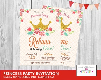 Birthday Invitation, Princess Birthday Invitation, Princess Party Invitation, Printable Birthday Invitation, Princess Birthday Invite,Invite