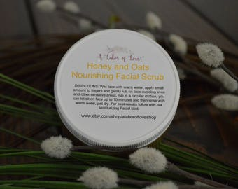 Facial Scrub - Honey Facial Scrub - Nourishing Honey and Oats Scrub - Face Scrub and Mask