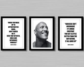 Dwayne Johnson (The Rock) Quotes And Photo Prints A4/A3  - Unframed -