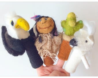 Finger puppets My Story of the Indians wool / knit and felted wool my Indian - 4 fingers puppet story