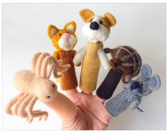 "Tea house animals - wool finger puppets / ""Pets"" - felted finger puppets"