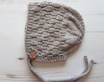 Baby Bonnet. Vintage Style Baby Bonnet. Baby Hat. Knitted Hat. Baby Hat. Baby Knit Hat. Hand Knit Baby Bonnet. Newborn Gift. Bespoke