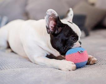 Organic Cotton Crochet Dog Ball Toy - Coral - Handmade