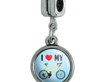 I Love My Bike Road Bicycle Cycling Italian European Style Bracelet Charm Bead