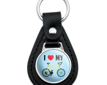 I Love My Bike Road Bicycle Cycling Black Leather Keychain