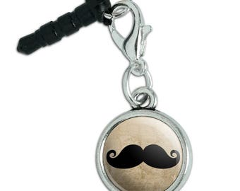 Curly Mustache Mobile Cell Phone Headphone Jack Anti-Dust Charm fits iPhone iPod Galaxy