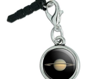 Planet Saturn with Rings Solar System Mobile Cell Phone Headphone Jack Anti-Dust Charm fits iPhone iPod Galaxy
