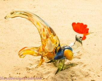 Glass figurine Glass Rooster Murano Glass Animals Blown Glass home décor fathers day gift figurines Art Glass Lampwork Handmade gifts