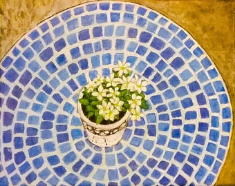 Flowers on Mosaic table