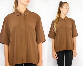 Satin Shirt Brown / Satin Blouse Women / Brown Satin Shirt / Vintage Blouse / Satin Shirt Vintage / Satin Blouse Vintage / Brown Satin Shirt