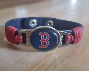 Boston Red Sox Redsox bracelet leather cuff Redsox Baseball