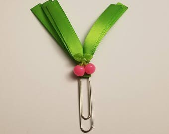 Green and Pink Cherry Planner Paperclip-Cherry Planner Accessory-Green Planner Accessory-Decorated Planner Paperclip-Decorated Planner Clip