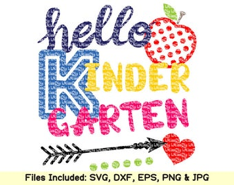 Hello Kindergarten svg first day of back to school preschool svg files for Cricut Silhouette teacher shirt boy girl svg designs dxf cut file