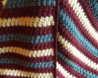 Drops Wheelchair Blanket, Throw for Chair, Lapghan Crocheted in Maroon, Pale Yellow and Green