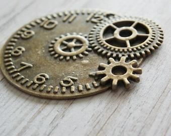 Gears charm victorian Pocket Watch gear dial vintage pendant charm