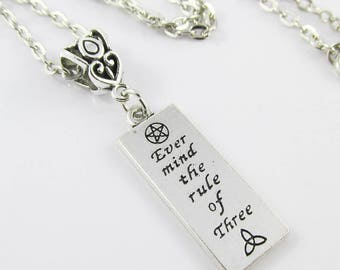 Wicca Ever Mind the Rule of Three Charm Necklace 45cm Silver Tone Chain