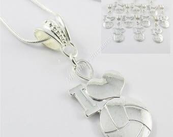 Team Set of 10 Netball I Love Netball Charm Pendant 56cm 925 Snake Chain Necklace