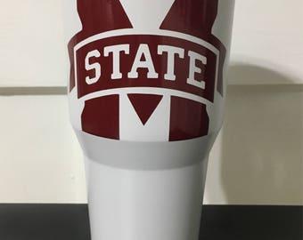 MSU Mississippi State Bulldogs M State in maroon on White  Ozark Trail 20 oz tumbler NEW