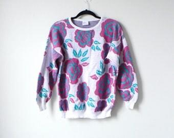Floral Knit 80s Sweater - Neon Flower Jazzy Bright Oversized Hippie Vintage Sweater - Women's L
