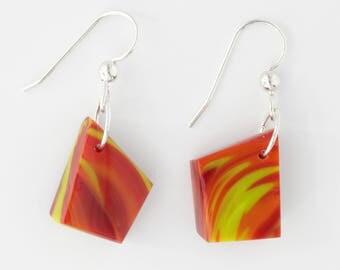 Dangle & Drop Earrings |  Glass Rocks | Sterling Silver