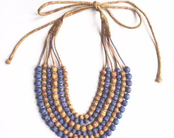 Exclusive, one-of-kind, 6 String Statement Sari Bead Necklace - Violet/Mustard