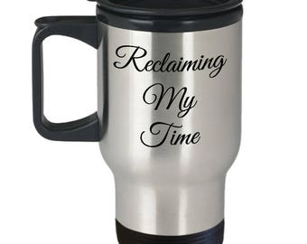 Reclaiming My Time Travel Mug - Maxine Waters - Insulated Stainless Steel Mug with Lid