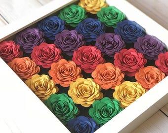 Rainbow Baby Art - Nursery Rainbow Art - Shadow Box Frame - Framed Rainbow Art - Expecting Mom Gift - Rainbow Room Decor - Rainbow Flowers
