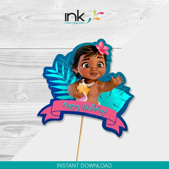 Disney Baby Moana Cake Topper Centerpiece Instant Download