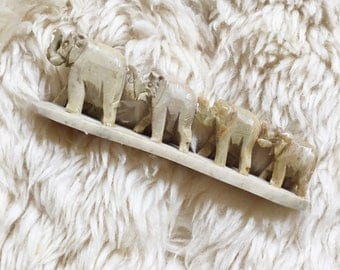 Vintage Marble Marching Elephants // Made in India
