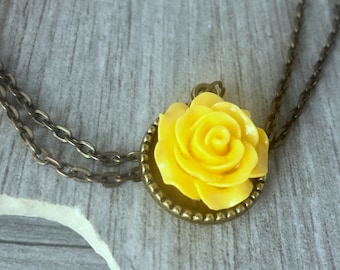 Yellow rose pendant etsy yellow rose necklace flower pendant yellow rose rose pendant necklacestatement necklacevintage mozeypictures Images