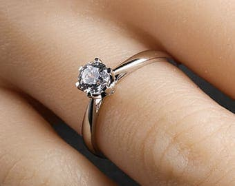 0.5 carat Brilliant Moissanite Classic Engagement ring with natural diamonds in 14k white gold, Diamond Alternative engagement ring