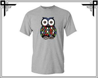 Colourful Mosaic Owl Men's T-Shirt Owl Shirt Owl Tees Neon Owl Shirt Men's Shirts Men's T shirt Gift For Him