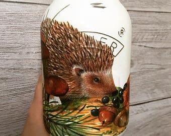 Hand decorated hedgehog mason jar - autumn, hedgehog, vase, storage.