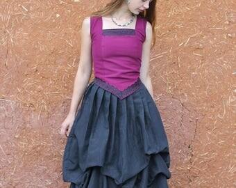 jupe noire longue bouffante style elfique, romantique, médiévale ,steampunk ,gothique   Cape Diem