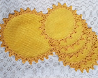 Vintage set of six little and one big yellow oval linen serviettes / table-napkins / doilies crocheted handmade, home decoration