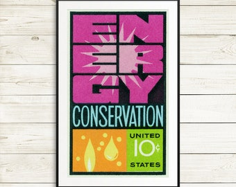 Art print: energy conservation, conservation art, conservation poster, energy poster, retro wall art, retro 1960s, 1960s posters, vintage