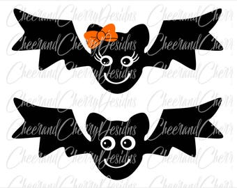 Cute Bat Svg Halloween SVG for Girl Boy Halloween Monogram svg Bat with Bow Svg Bat Clipart Bat DXF Bat Vector Bat Silhouette Svg for cricut