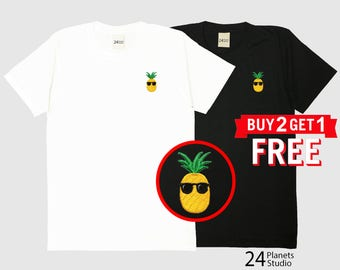Pineapple Embroidered T-Shirt by 24PlanetsStudio