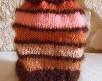 striped, Brown edges, knitted Beanie handmade