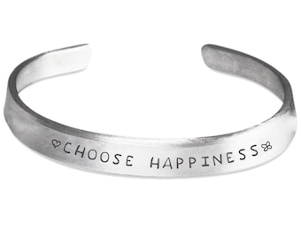 CHOOSE HAPPINESS BRACELET Cuff 100% Handmade Hand Polished Silver-toned Aluminum Bangle  Stamped Bangle Bracelet One Size Fits All