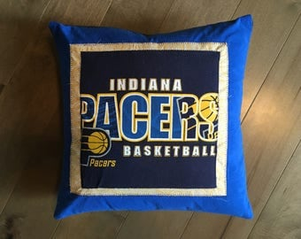Indiana Pacers Basketball Upcycle T-Shirt Pillow (16x16)