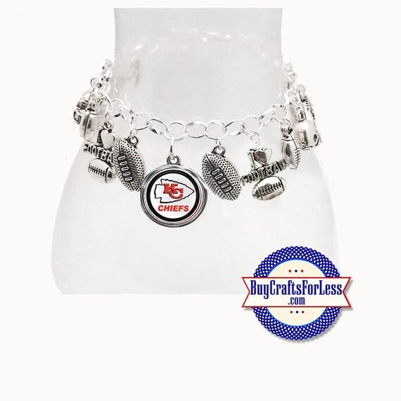 KANSAS CiTY Football, Silver Plated CHARM Bracelet  **FREE U.S. SHiPPiNG**