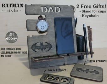 Custom gift for men, Wood custom docking station, Personalized gift, Anniversary gift,  Docking Station, Gift for dad, Gift for Husband, Men