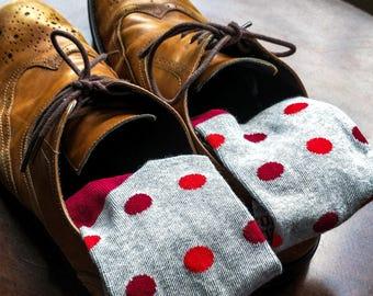 Groomsmen Socks | Red & Grey Polka Dot Socks | Wedding Day Socks | Groomsmen Gifts | Groomsmen Proposal Idea | Men's Socks | Colorful Socks